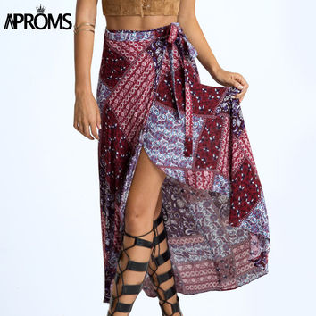 New 2017 Irregular Long Skirt Women Vintage Wine Red Floral Print Side Slit Wrap Maxi Skirt  Boho Summer Beach Skirts 70079
