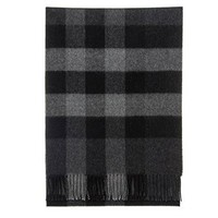 Burberry Men's Charcoal Gray Mega Check 100% Cashmere Scarf