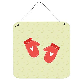Oven Mitts on Green Wall or Door Hanging Prints BB7297DS66