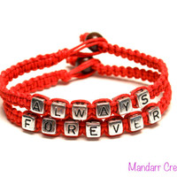 Forever Always Bracelets for Couples, Red Hemp Cord, Anniversary Gift, His Hers, Valentines Day