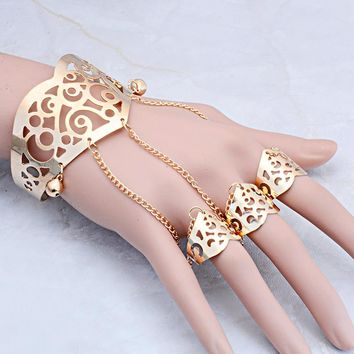 Adjustable Gold/Silver Color Hollow Bangles with Finger Ring Arm Cuff