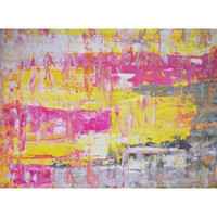"Grey, Yellow and Pink Abstract Art Painting - 18"" x 24"""