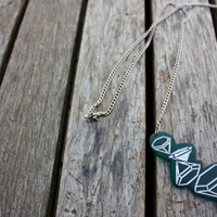 Diamond emerald green statement necklace laser cut engraved acrylic silver hand painted