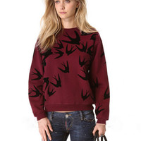 Birds Print Cuff Sleeve Sweater