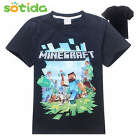 4-14T Boys girls t shirt brand short sleeve tops children's Cotton t shirts big children clothing summer kids games around Tops