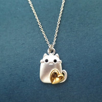 Lovely, Cat, Necklace, Silver, Cat, Necklace, Cute, Lovely, Kitty, Necklace, Birthday, Jewelry