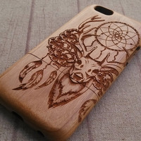 Wood  iphone case, dream catcher&deer, iphone 6 case,iphone 6plus, iphone 5 case ,iphone 4, iphone 5c case, wood case,wooden iphone case