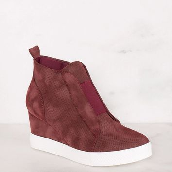 All Day Burgundy Slip On Wedge Sneaker