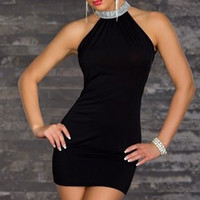 Black Halter Sequined Mini Dress