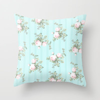 Shabby chic roses pink and mint Throw Pillow by Mercedes