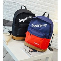 PEAPDQ7 Supreme Color Blocking Backpack School Bag