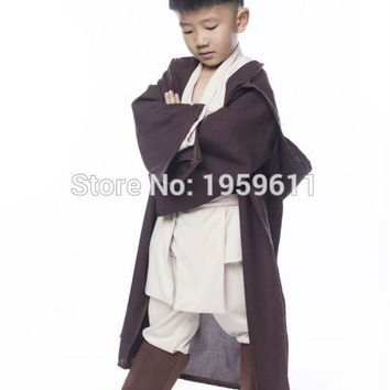 Unisex Kids STAR WARS Robe Jedi/Sith Cosplay Children Hooded Cape Cloak Classic Halloween Costumes two colors For Pick