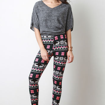 Reindeer Fair Isle Tight Leggings