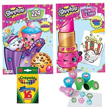 Shopkins 224 Page Coloring and Activity Book, Shopkins Color and Trace Book, Crayola Crayons (16) and Cupcake Stampers (6), Bundle of 4 Different Items