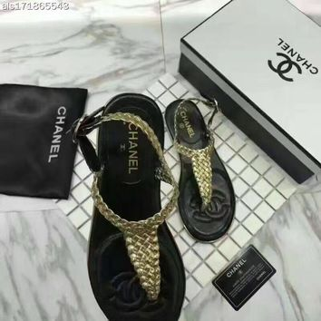 Chanel £º The T type braided belt clip toe Beach Resort all-match fashion leather flat