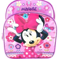"""Licensed Disney Minnie Mouse 10"""" Toddler Small Shine Pink School Backpack"""