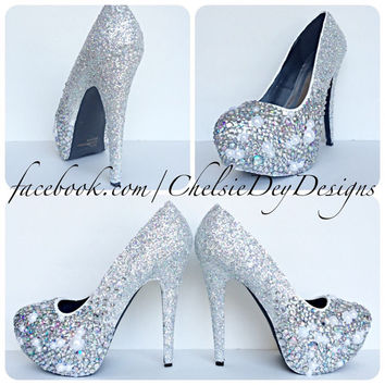 Irridescent Crystal Pearl Ombre Glitter High Heels