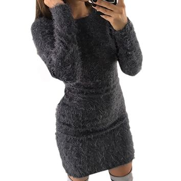 Fashion Plush Sweater Dress Women Party Night Bodycon Dresses Winter Red Clothing Casual Sexy Mini Knitted Sweater