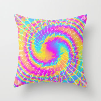 crazy tie dye Throw Pillow by Pink Berry Patterns