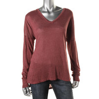 XCVI Womens Hi-Low Long Sleeves Knit Top