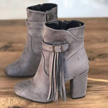 Fringe High Chunky Heel Suede Ankle Boots
