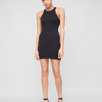 Ribbed Halter Tank Dress in Black by A/OK