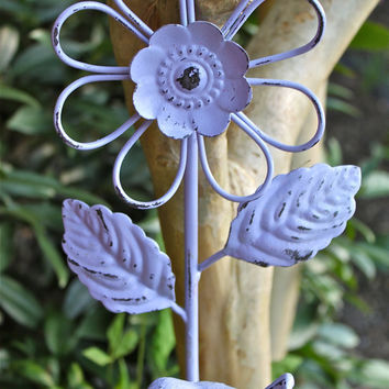 Cast Iron Wall Hook/ Lilac Purple/ Flower Bird/ by AquaXpressions