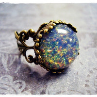 Blue Opal Round Glass Cabochon Ring with an by EvelynMaeCreations