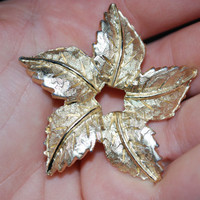 VINTAGE BROOCH, 1950s, 1960s, Gold leaf pin, Star shaped pin