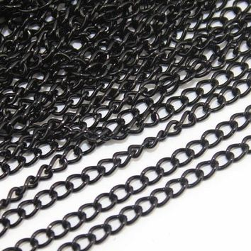 10Meters/Pack Black Metal Brass Necklace Chains Bulk for Diy Necklace Bracelet Jewelry Making Materials Supplies F760