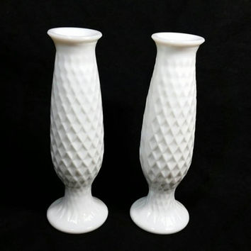 Vintage Milk Glass E O Brody Co C921 Flower Bud Vase/Vintage Shabby Chic/Beach Vase/Wedding Flower Vases/Waffle Print Vase (Lot of 2)