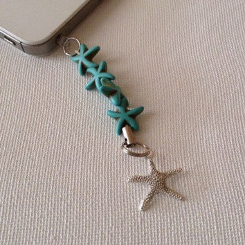 Starfish cell phone charm, cell phone dust plug, dust plug, cell phone accessories, ocean dust plug