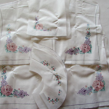 Vintage Pink Rose Flowers Shirt Bodice Fabric
