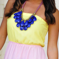 Teardrop Bib Necklace: Navy Blue | Hope's