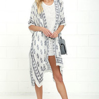 Made it to Morocco Ivory Print Kimono Top