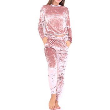Winter Warm Velvet Tracksuits Women 2 Piece Pants Set Sexy Pink Hoodies Top + Leggings Bodycon Outfit Suit Ensemble Femme 80232