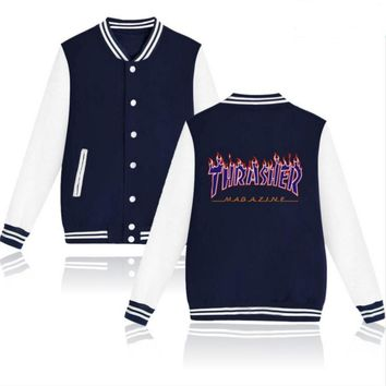 Thrasher flame special large size tide coat plus cashmere couple baseball clothing Purple letters-1