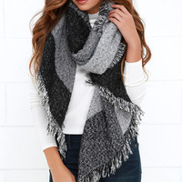 Let's Chill Grey and Black Print Scarf