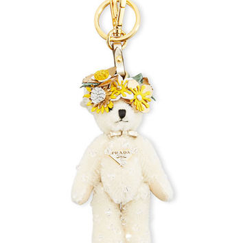 Prada Enea Bear Keychain with Flower Crown