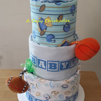 Sports Themed Baby Diaper Cake