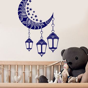 Vinyl Wall Decal Moon Crescent Stars Lamps Bedroom Dreams Stickers Unique Gift (ig3657)