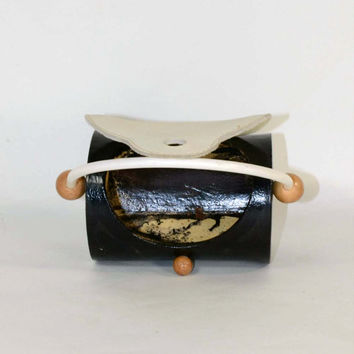 Vintage Small Art Deco Mod Handbag, Black White Round Purse, Unique Whimsical Novelty Clutch Bag, Cream Leather Painted Body Wood Accents