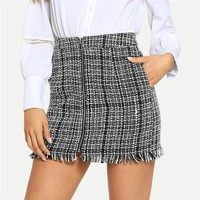 Black and White Plaid Zip Front Frayed Tweed Skirt Elegant Fringe Pocket Mid Waist Pencil Skirts Women Mini Skirts