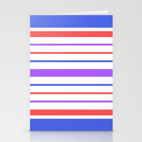 Lavender, Cornflower Blue, and Coral Stripes Stationery Cards by Kat Mun | Society6