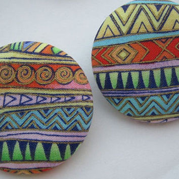 Large 90s Inspired Multicolor Tribal Print Fabric Button Earrings
