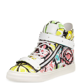 Men's Pastel Floral-Print Leather High-Top Sneaker, Multi