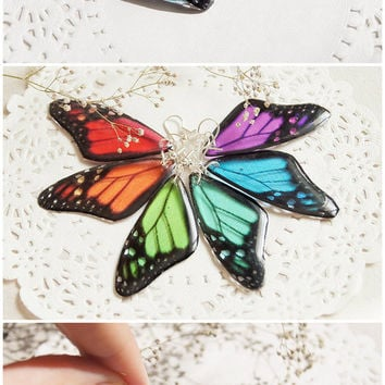 Butterfly Earrings Resin Rainbow Butterfly Wing jewelry Transparent Earrings Dangle Morpho ecofriendly earrings girlfriend gift for mom