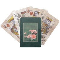 Beautiful pink roses on a natural green background bicycle playing cards