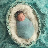 New Baby Kids 100 x 50cm Faux Fur Blanket Basket Stuffer Photography Props Background Newborn Blanket = 1931443588