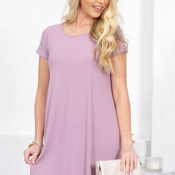 Mimi Basic Ribbed Dress | Lilac
